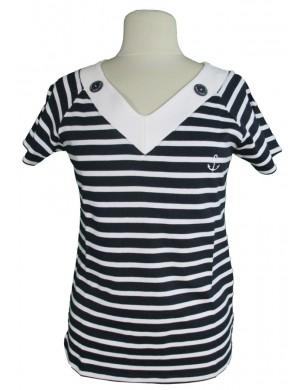 Tshirt col v femme marin rayé marine et blanc