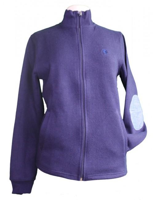 Sweat zippé avec renforts coudes bleu marine