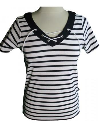 T_shirt rayé femme col V avec lacet blanc/marine