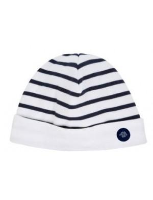 Bonnet bébé Armor-lux coton blanc/marine