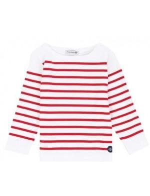 Marinière enfant Armor-Lux empiecement blanc/rouge