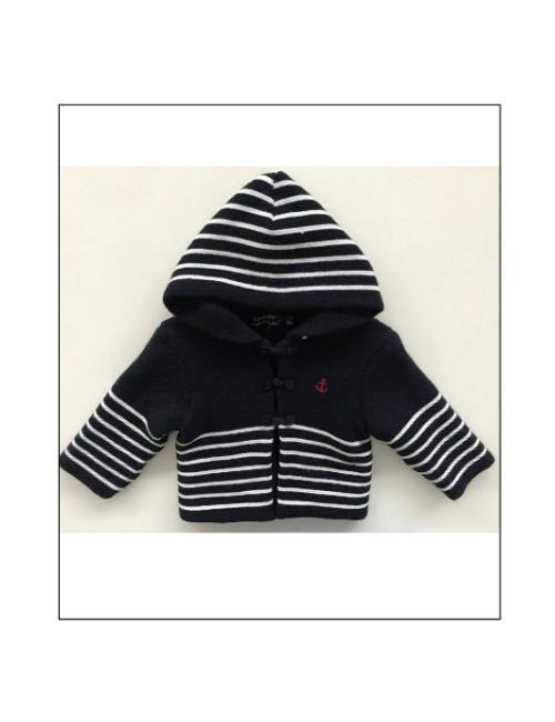 gilet bébé audenge marine/blanc