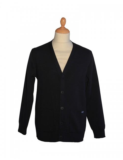 gilet bouton bleu marine Brise-lames 100% laine