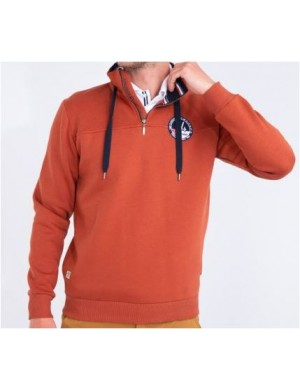 Sweat Bermudes orange troyen à capuche