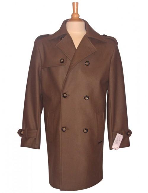 Manteau homme dumont d'urville en drap de laine Tréport taupe