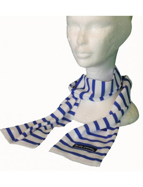 Echarpe Brise-Lames coton rayé blanc/bleu roy