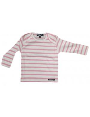 Marinière layette bébé brise-lames blanc/rose
