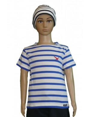Tee-shirt rayé enfant blanc/bleu royal brodé mouette