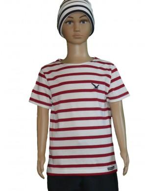 Tee-shirt rayé enfant blanc/rouge brodé mouette
