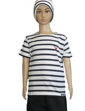Tee-shirt rayé enfant blanc/bleu marine brodé mouette