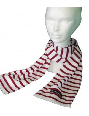 Echarpe Adulte Brise-Lames coton rayé blanc/rouge