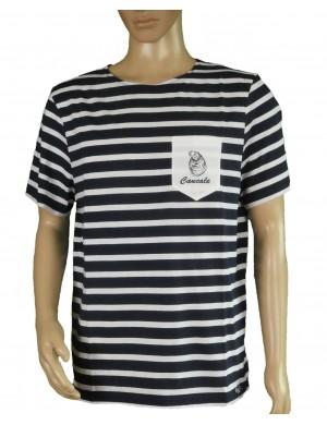 Tshirt Brise-lames Fregate brodé cancale marine/blanc