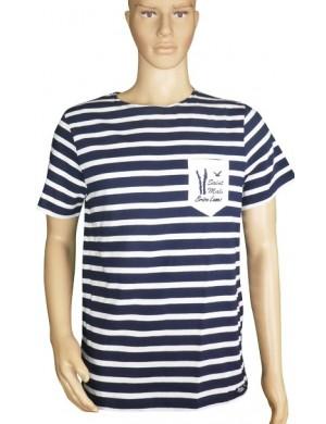 Tshirt Brise-lames Fregate poche St Malo marine/blanc