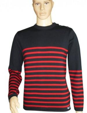 Pull Grand mât marine/rouge 100% laine mérinos