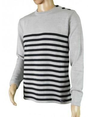 Pull Régate gris/marine 50% laine mérinos