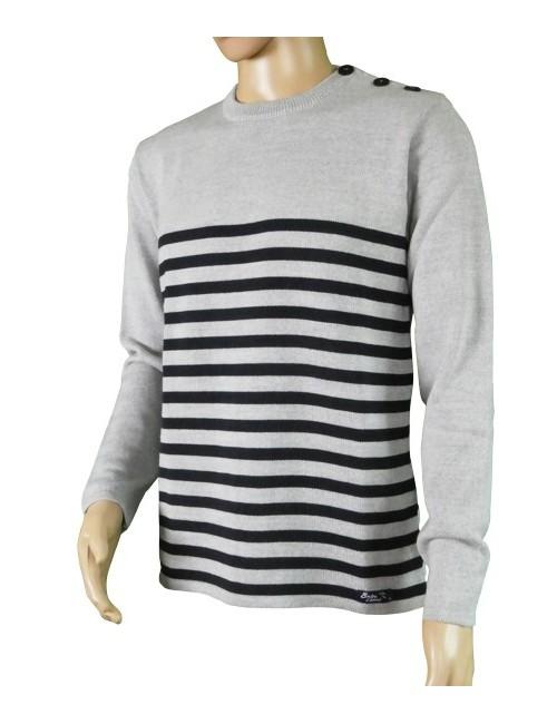 Pull Régate unisex 50% laine mérinos gris/marine mannequin homme