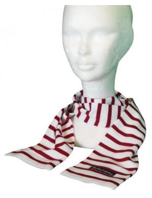 Echarpe enfant Brise-Lames coton rayé blanc/rouge