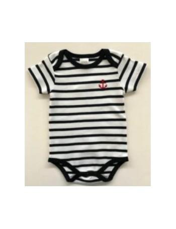 Body bébé coton rayé blanc/marine MC