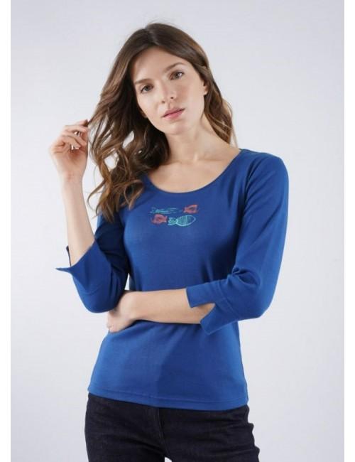 T-shirt manches 3/4 motifs poissons
