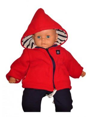 Polaire à capuche enfant et bébé Roulis rouge