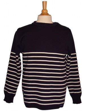 Pull marin Malo marine/écru pure laine