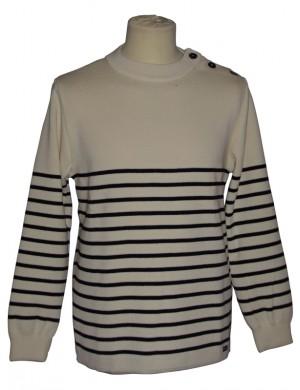 pull marin pure laine fabriqué en Bretagne écru/marine Malo