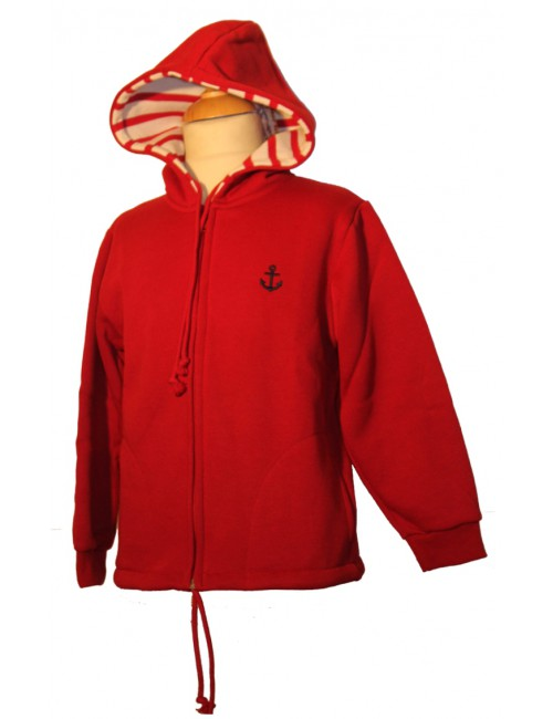 sweat à capuche rouge enfant