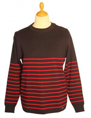Pull marin marine/rouge Servannais Brise-lames