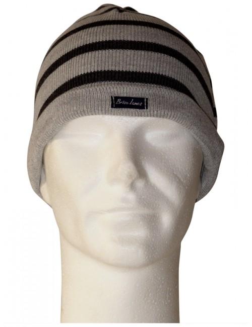 Bonnet 50% laine Brise-lames rayé gris/gris foncé