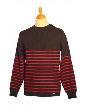 Pull marin Malo marine/rouge pure laine