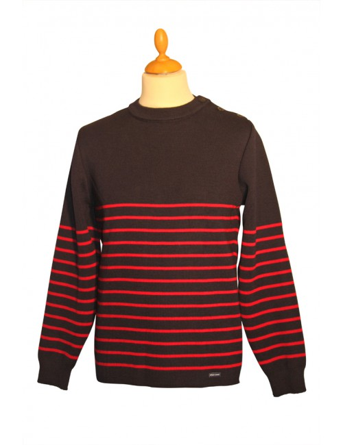 Pull marin pure laine Malo marine/rouge Brise-lames