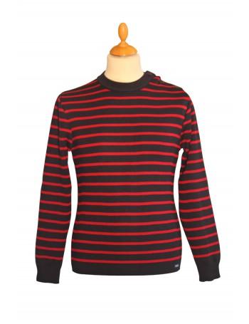 Pull marin Solidor marine/rouge Brise-lames