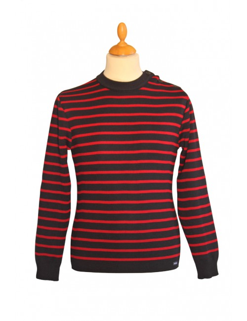 Pull marin Solidor marine/rouge Brise-lames
