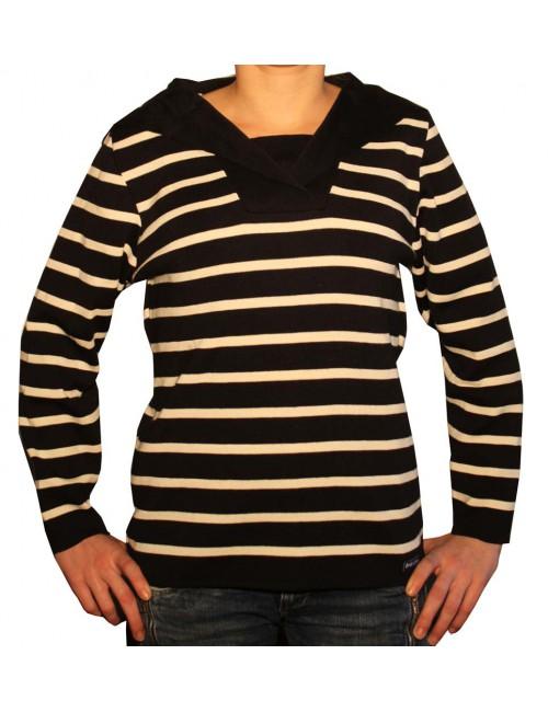 Vareuse Malo en laine rayé marine/écru Brise-lames