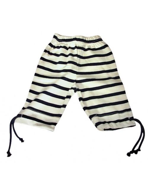 Pantalon corsaire enfant écru/marine